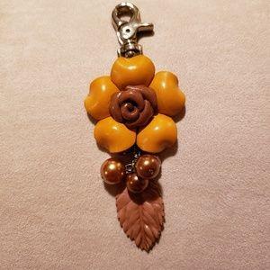 Accessories - Leather Flower Key Clip Key Fob Handbag Accent